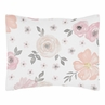 Blush Pink, Grey and White Standard Pillow Sham for Watercolor Floral Collection by Sweet Jojo Designs