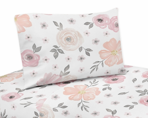 Blush Pink Grey And White Twin Sheet Set For Watercolor Floral Collection By Sweet Jojo Designs 3 Piece Set