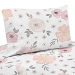 Blush Pink, Grey and White Twin Sheet Set for Watercolor Floral Collection by Sweet Jojo Designs - 3 piece set