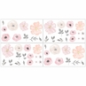 Blush Pink, Grey and White Wall Decal Stickers for Watercolor Floral Collection by Sweet Jojo Designs - Set of 4 Sheets