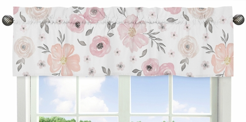 Blush Pink, Grey and White Window Treatment Valance for Watercolor Floral Collection by Sweet Jojo Designs - Click to enlarge