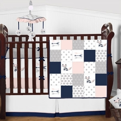 Blush Pink, Navy Blue, Grey and White Woodland Fox Patchwork Girl Baby Crib Bedding Set with Bumper by Sweet Jojo Designs - 9 pieces