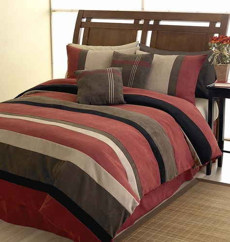 Brick Red, Black, Chocolate and Camel Jacaranda Striped MicroSuede 6-pc Luxury Duvet Cover Bedding Set - Click to enlarge