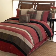 Brick Red Jacaranda Striped Microsuede 6pc Bed in a Bag