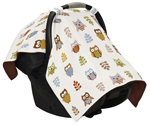 Brown and Blue Owl Baby Infant Car Seat Carrier Stroller Cover by Sweet Jojo Designs