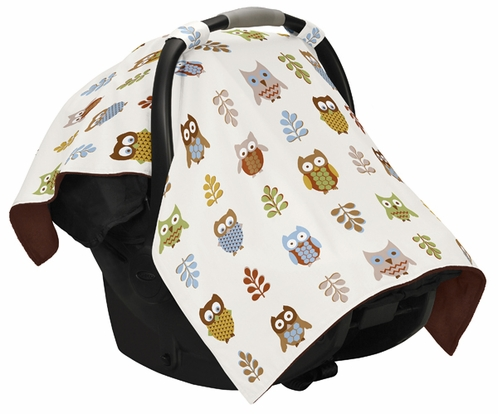Brown and Blue Owl Baby Infant Car Seat Carrier Stroller Cover by Sweet Jojo Designs - Click to enlarge