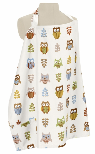 Brown and Blue Owl Infant Baby Breastfeeding Nursing Cover Up Apron by Sweet Jojo Designs - Click to enlarge