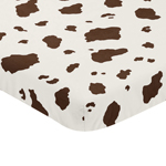 Brown Cow Print Baby Fitted Mini Portable Crib Sheet for Western Wild West Collection by Sweet Jojo Designs