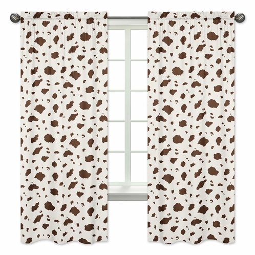 Brown Cow Print Window Treatment Panels for Wild West Cowboy Western Collection  - Set of 2 - Click to enlarge