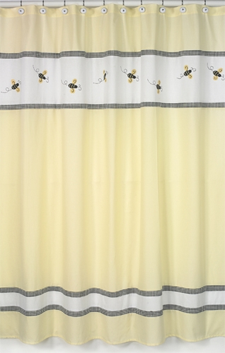 Bumble Bee Kids Bathroom Fabric Bath Shower Curtain   Click To Enlarge