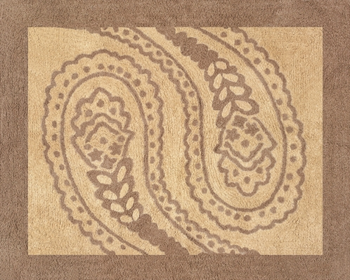 Camel and Chocolate Paisley Accent Floor Rug - Click to enlarge