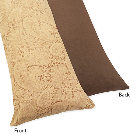 Camel and Chocolate Paisley Full Length Double Zippered Body Pillow Case Cover by Sweet Jojo Designs - Click to enlarge