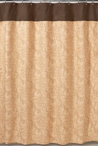 Camel and Chocolate Paisley Kids Bathroom Fabric Bath Shower Curtain - Click to enlarge