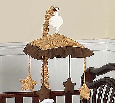 Camel and Chocolate Paisley Musical Crib Mobile - Click to enlarge