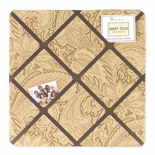 Camel Paisley Fabric Memory/Memo Photo Bulletin Board - Click to enlarge