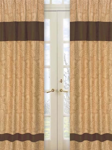 Camel Paisley Window Treatment Panels - Set of 2 - Click to enlarge