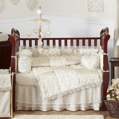 Champagne and Ivory Victoria Baby Bedding - 9pc Crib Set by Sweet Jojo Designs