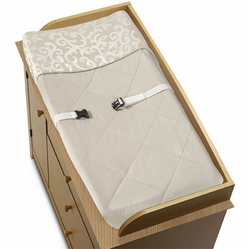 Champagne and Ivory Victoria Baby Changing Pad Cover by Sweet Jojo Designs - Click to enlarge