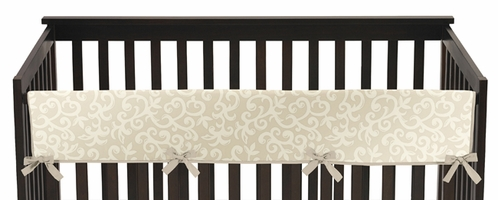 Champagne and Ivory Victoria Baby Crib Long Rail Guard Cover by Sweet Jojo Designs - Click to enlarge