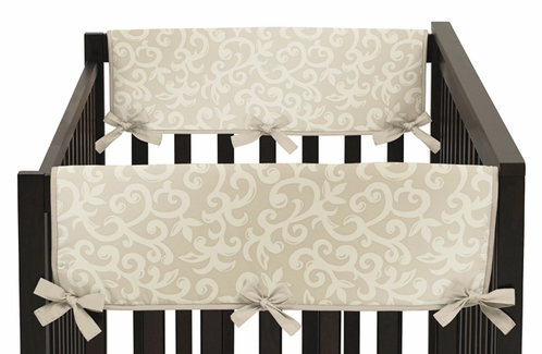Champagne and Ivory Victoria Baby Crib Side Rail Guard Covers by Sweet Jojo Designs - Set of 2 - Click to enlarge