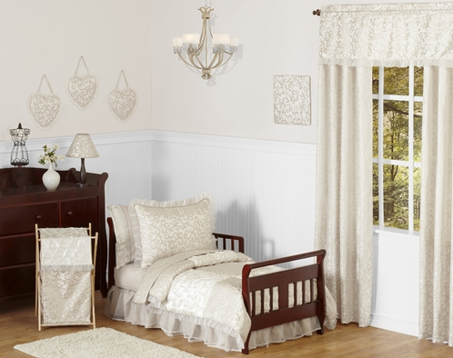 Champagne and Ivory Victoria Toddler Bedding - 5pc Set by Sweet Jojo Designs - Click to enlarge