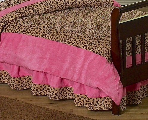 Cheetah Girl Bed Skirt for Toddler Bedding Sets by Sweet Jojo Designs - Click to enlarge
