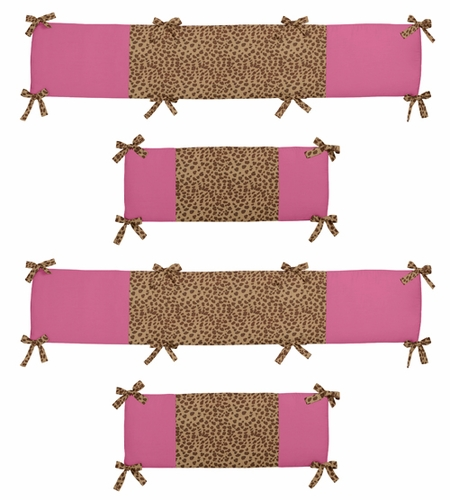 Cheetah Girl Collection Crib Bumper by Sweet Jojo Designs - Click to enlarge