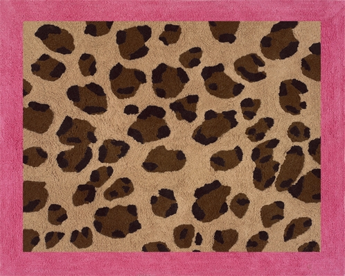 Cheetah Girl Pink and Brown Accent Floor Rug - Click to enlarge