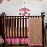 Cheetah Girl Pink and Brown Baby Bedding - 11pc Crib Set