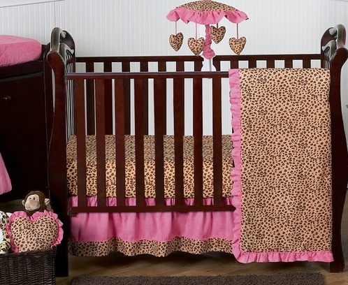 Cheetah Girl Pink and Brown Baby Bedding - 4pc Girls Crib Set by Sweet Jojo Designs - Click to enlarge