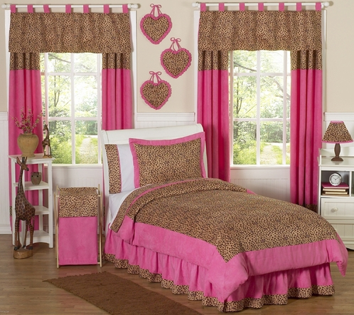 Cheetah Girl Pink and Brown Childrens Bedding - 4 pc Twin Set - Click to enlarge