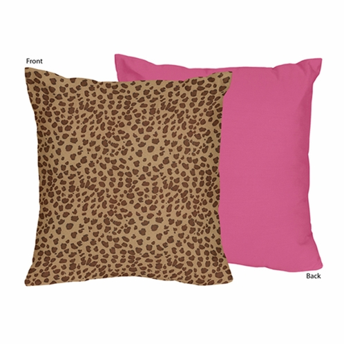 Cheetah Girl Pink and Brown Decorative Accent Throw Pillow by Sweet Jojo Designs - Click to enlarge