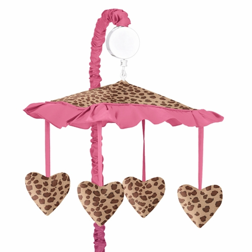 Cheetah Girl Pink and Brown Musical Crib Mobile - Click to enlarge