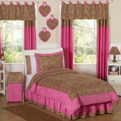 Cheetah Girl Pink and Brown Teen Bedding - 3 pc Full / Queen Set