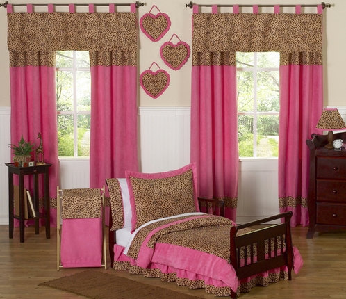 Cheetah Girl Pink and Brown Toddler Bedding - 5pc Set by Sweet Jojo Designs - Click to enlarge