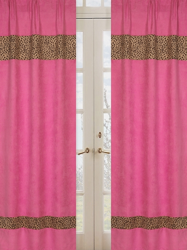 Cheetah Girl Pink and Brown Window Treatment Panels - Set of 2 - Click to enlarge