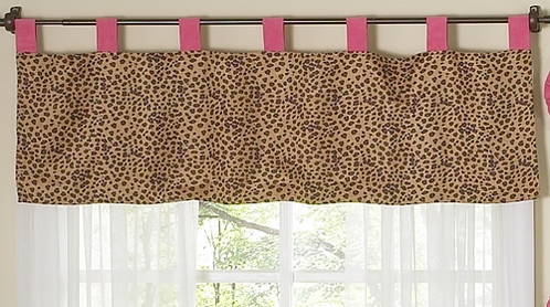Cheetah Girl Pink and Brown Window Valance - Click to enlarge