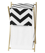Childrens/Kids Clothes Laundry Hamper for Black and White Chevron Zig Zag Bedding