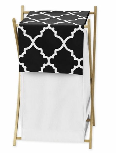 Childrens/Kids Clothes Laundry Hamper for Black and White Trellis Bedding by Sweet Jojo Designs - Click to enlarge