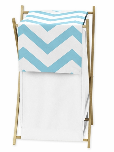 Childrens/Kids Clothes Laundry Hamper for Turquoise and White Chevron Zig Zag Bedding - Click to enlarge