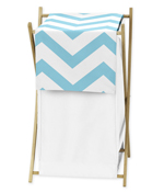 Childrens/Kids Clothes Laundry Hamper for Turquoise and White Chevron Zig Zag Bedding