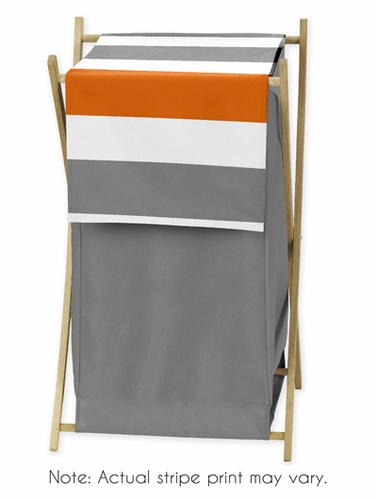 Childrens/Kids Clothes Laundry Hamper for Gray and Orange Stripe Bedding - Click to enlarge