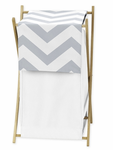 Childrens/Kids Clothes Laundry Hamper for Gray and White Chevron Zig Zag Bedding - Click to enlarge