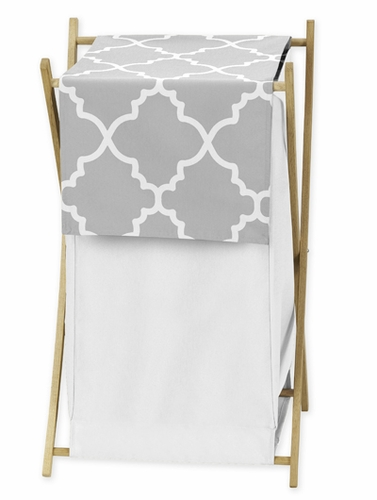 Childrens/Kids Clothes Laundry Hamper for Gray and White Trellis Bedding by Sweet Jojo Designs - Click to enlarge