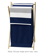 Childrens/Kids Clothes Laundry Hamper for Navy Blue and Gray Stripe Bedding