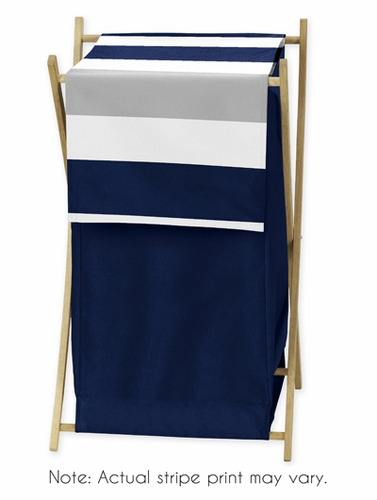 Childrens/Kids Clothes Laundry Hamper for Navy Blue and Gray Stripe Bedding - Click to enlarge