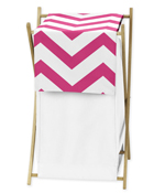 Childrens/Kids Clothes Laundry Hamper for Hot Pink and White Chevron Zig Zag Bedding