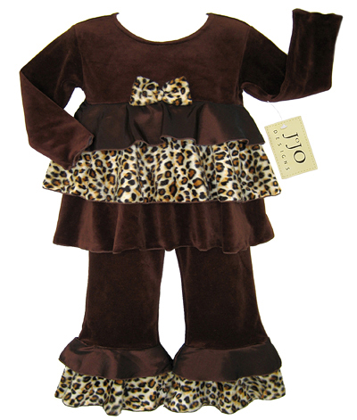 Chocolate and Cream Designer 2pc Leopard Rumba Baby Girls Outfit by Sweet Jojo Designs - Click to enlarge