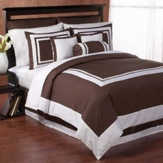 Chocolate and White Hotel Duvet Comforter Cover 6-pc Bedding Set