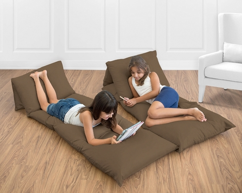 Chocolate Brown Kids Teen Floor Pillow Case Lounger Cushion Cover by Sweet Jojo Designs - Click to enlarge